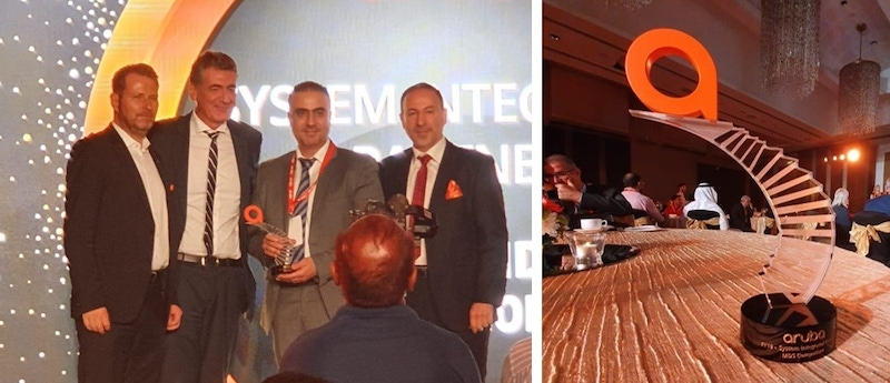 three men on the left accept an award on a photo collage and a photo on the right shows a trophy