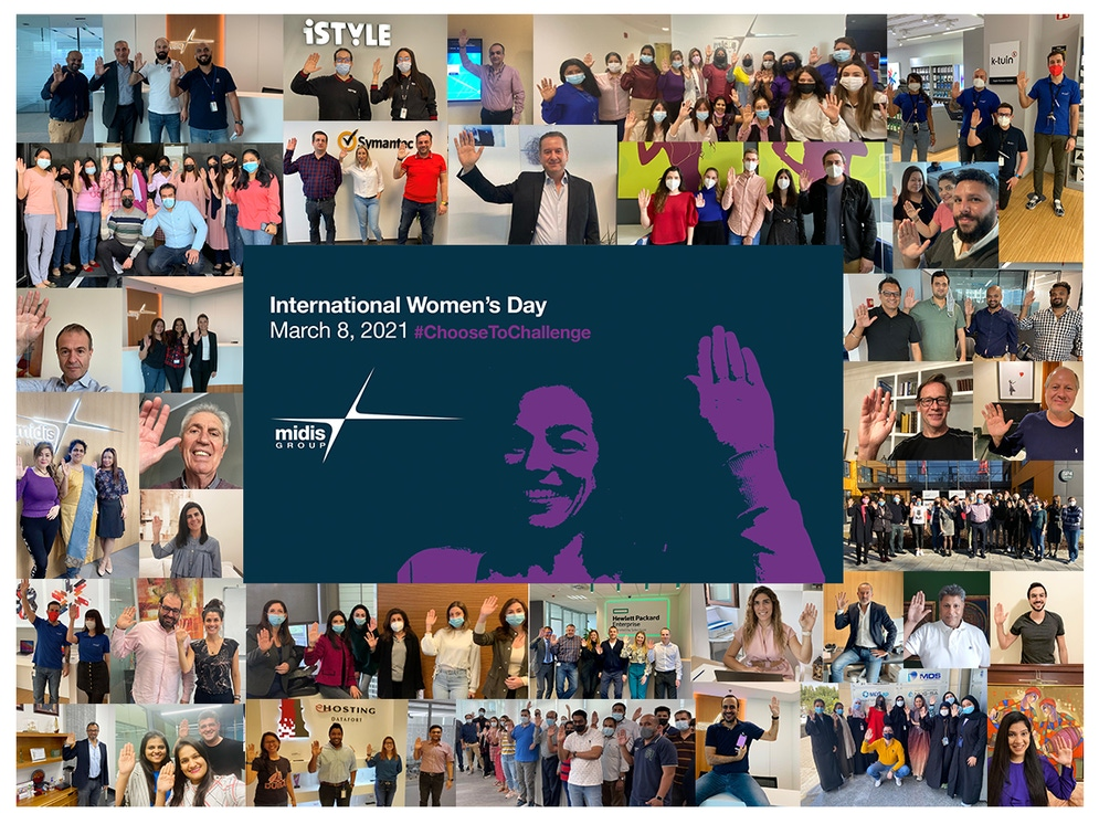 A photo collage with International Women's Day text in it's center.