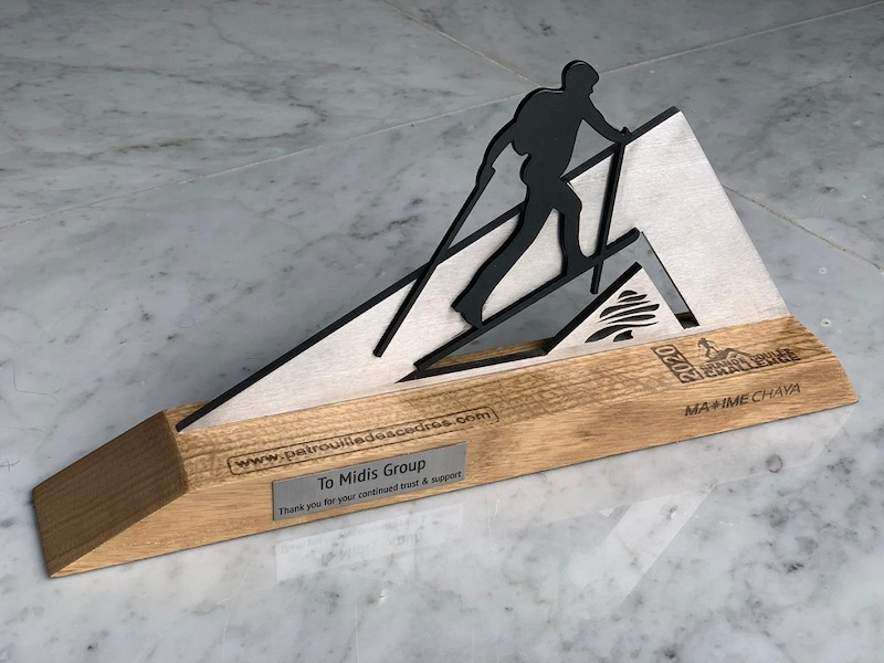 shows a wood and metal trophy