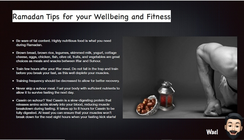 shows an e-bulletin page with tips on well being during Ramadan