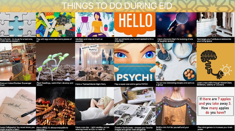 shows a page of ideas for well being during Eid