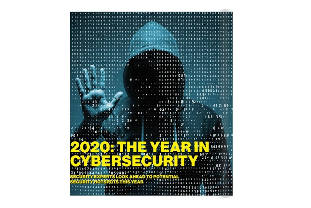 shows a magazine page with text about cybersecurity
