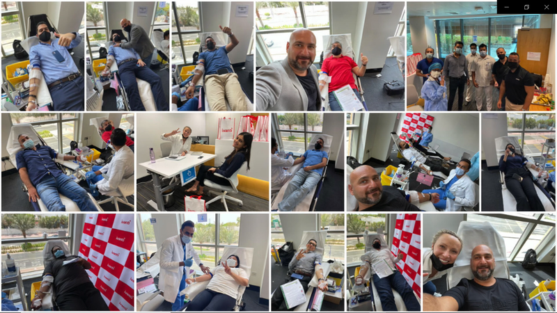 a collage of photos and media showing a blood donation drive