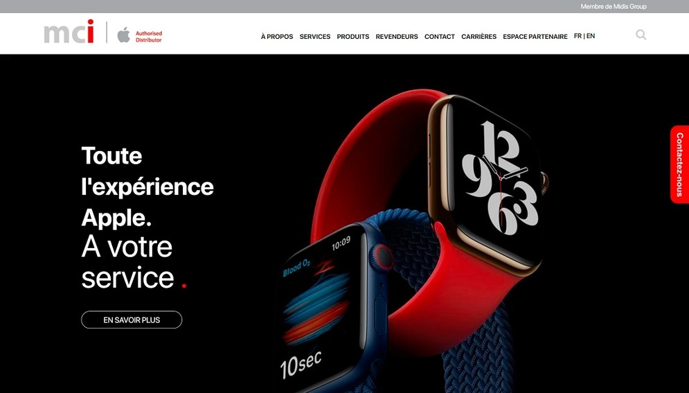 shows a website homepage with a large black image of an Apple watch