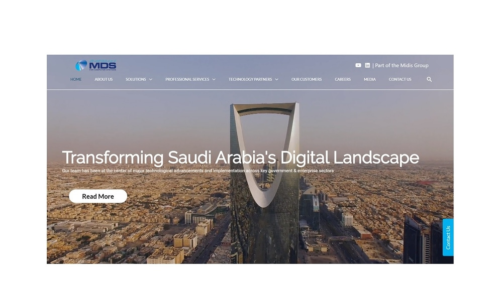 shows a website homepage with a futuristic building at the center of the image