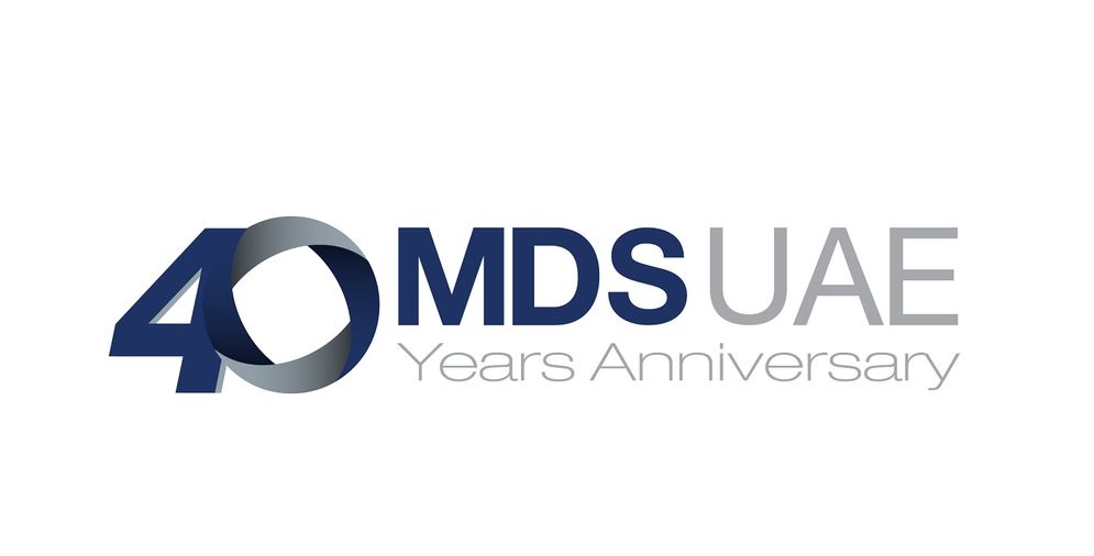 company logo spelling out the letters MDS UAE 40 years anniversary