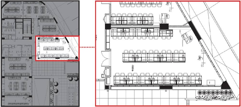 shows a plan of a building with a section highlighted