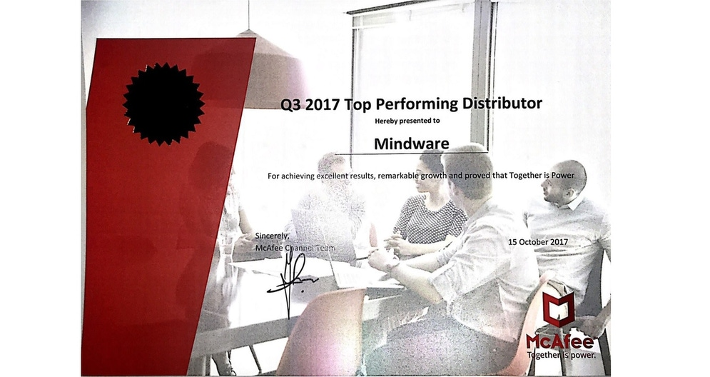 shows image of award certificate from McAfee