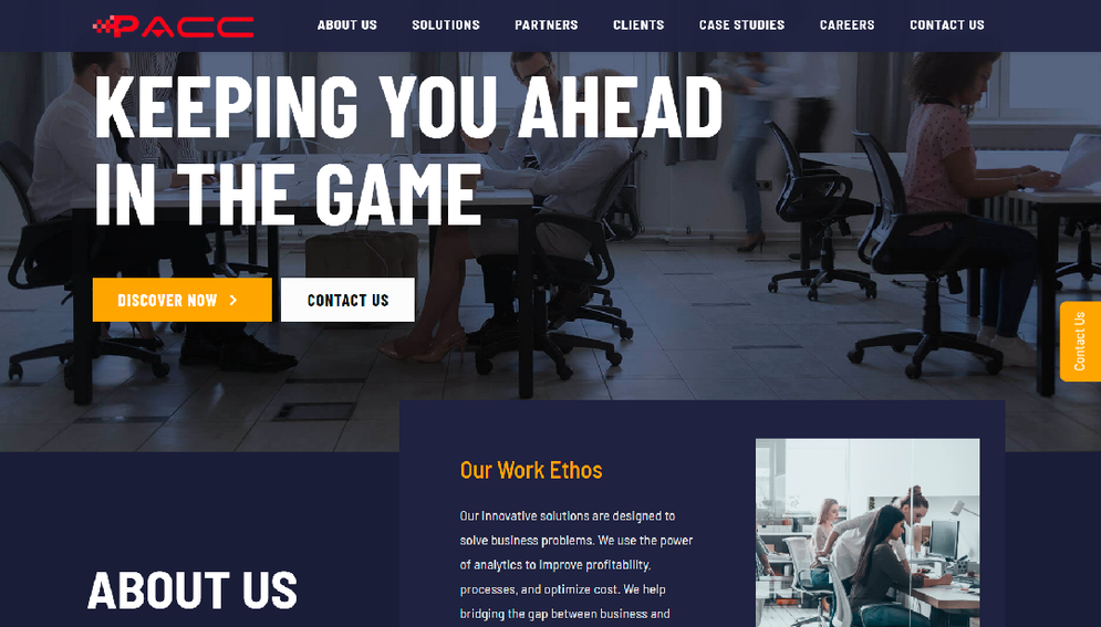 a website homepage in dark blue with white text