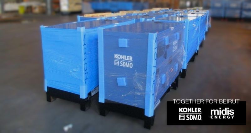 blue generators on pallets wrapped in plastic