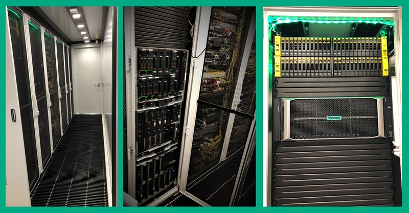 shows a collage of 3 images of computer servers.