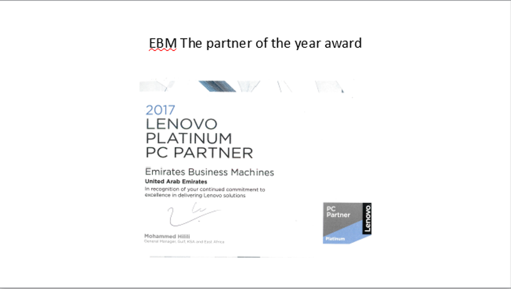 Emirates Business Machines wins Lenovo Partner of the Year award