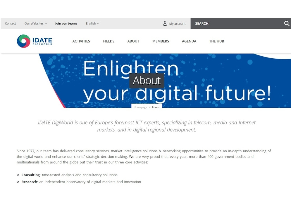 shows the iDATE website